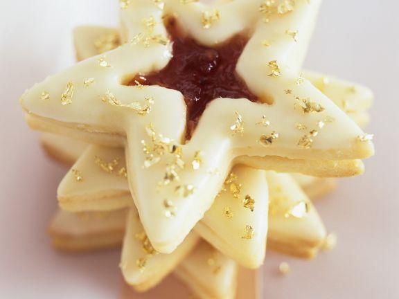 Goldene Marmeladenplätzchen in Sternform
