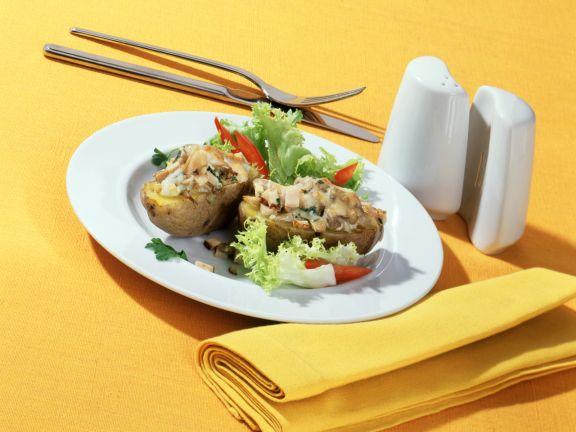 Gratinierte Kartoffeln mit Austernpilz-Filet-Füllung