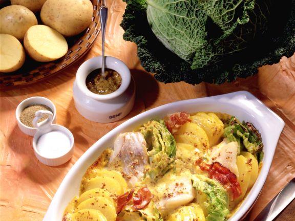 Gratinierte Senfkartoffeln mit Seelachs und Wirsing