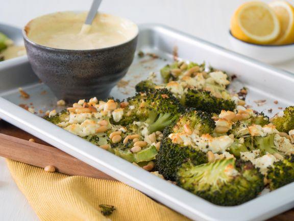 Gratinierter Brokkoli mit Curry-Dip