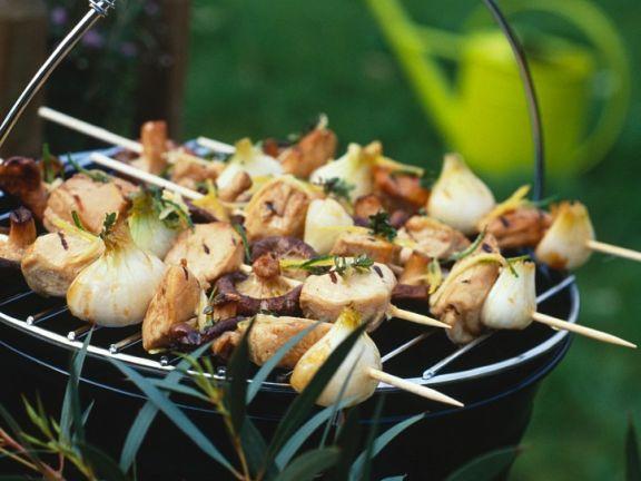Grillspieße mit Filet und Pilzen