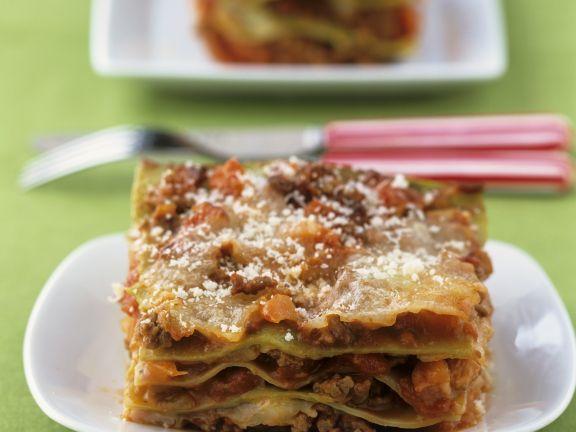 Grüne Lasagne mit Parmesan