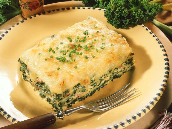 Grünkohl-Lasagne mit Putenspeck