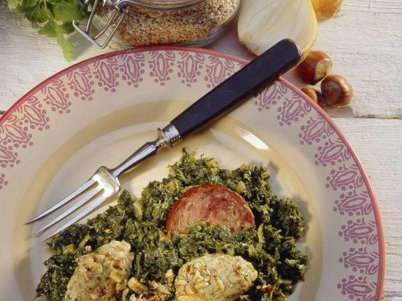 Grünkohl mit Salami und Klößchen