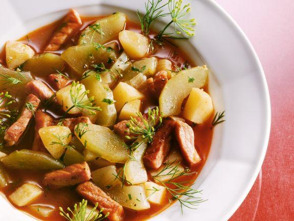 Gurken-Kartoffel-Eintopf mit Kassler