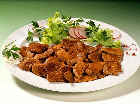 Gyros aus Putenfleisch mit Salat