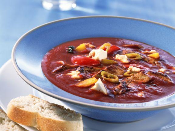 Gyros-Tomatensuppe mit Feta