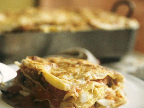 Hackfleisch-Lasagne mit Ei