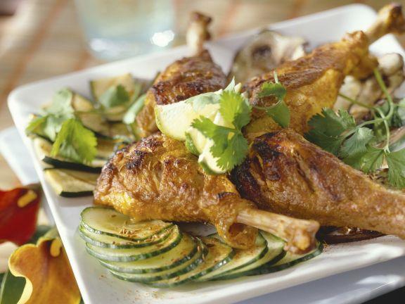 Hähnchen auf Tandoori-Art mit Gemüse und Koriander