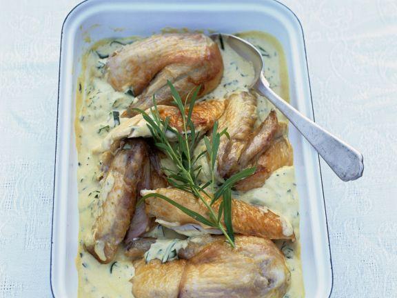 Hähnchen in Estragon-Sahne-Sauce