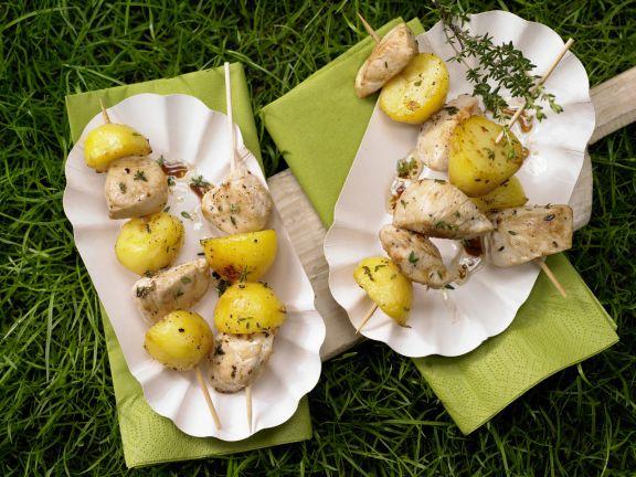 Hähnchen-Kartoffel-Spieße