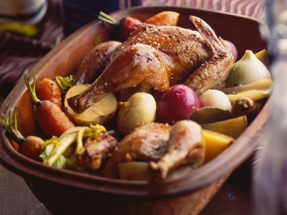 Hähnchen Mit Gemüse Aus Dem Römertopf Rezept Eat Smarter