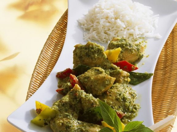 Hähnchen mit grüner Currypaste