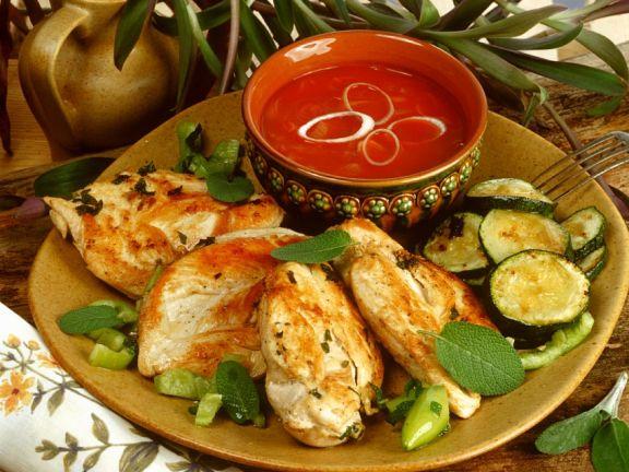 Hähnchen mit Zucchini vom Grill