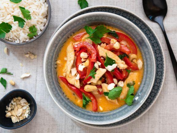 Hähnchen-Paprika-Curry mit Reis