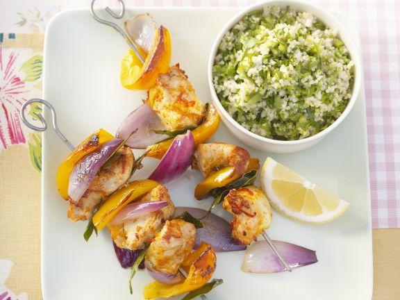 Hähnchen-Paprika-Spieße mit Erbsen-Couscous