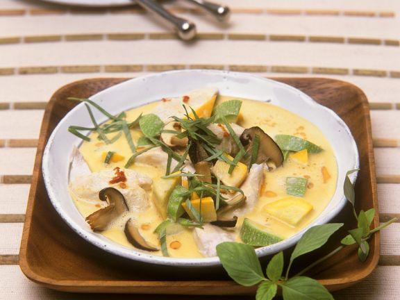 Hähnchen-Pilz-Curry mit Zucchini