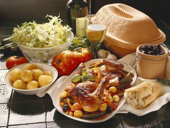 "Hähnchen ""Provence"" mit Salat"