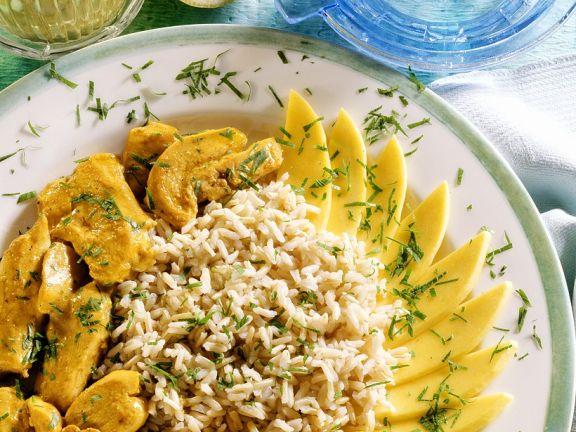 Hähnchen-Ragout mit Reis und mango