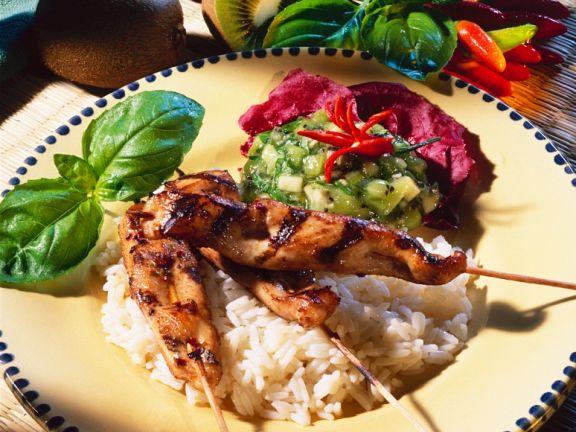 Hähnchen-Saté mit Kiwi-Salsa
