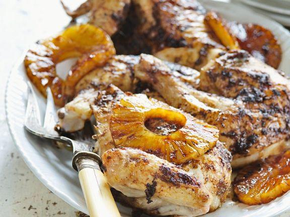 Hähnchen und Ananas vom Grill