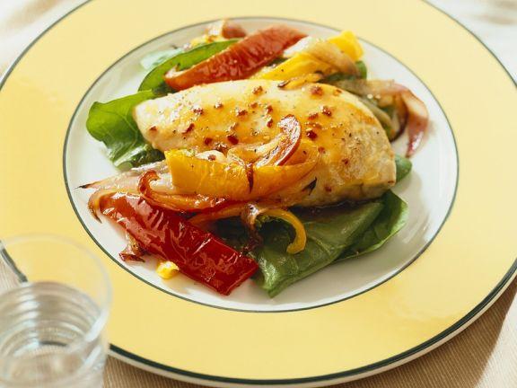 Hähnchenbrust auf Paprikagemüse