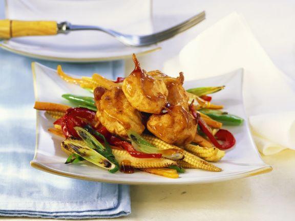 Hähnchenbrust mit Asia-Gemüse und Austernsoße