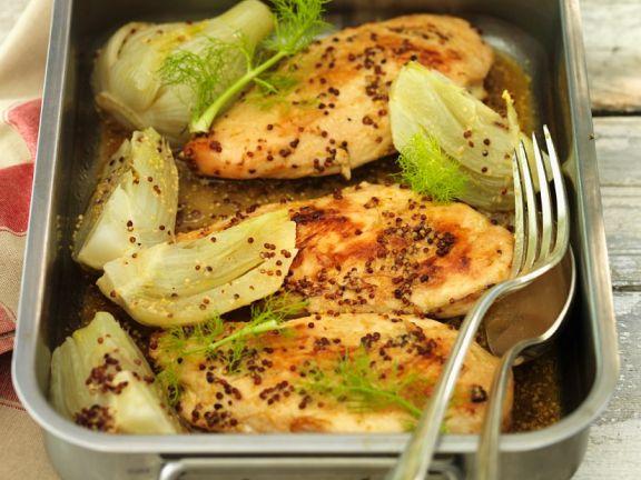 Hähnchenbrust mit Fenchel und grobem Senf
