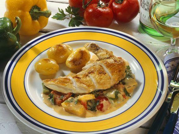 Hähnchenbrust mit Gemüse