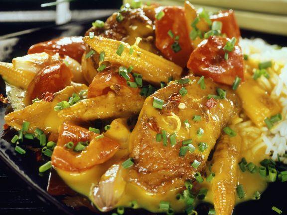 Hähnchenbrust mit Mais und Paprika