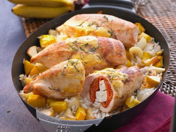 Hähnchenbrust mit Paprika-Feta-Füllung