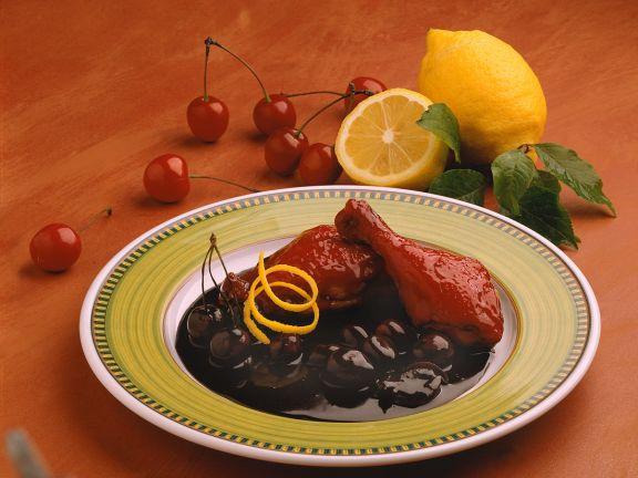 Hähnchenkeulen mit Kirsch-Schoko-Sauce