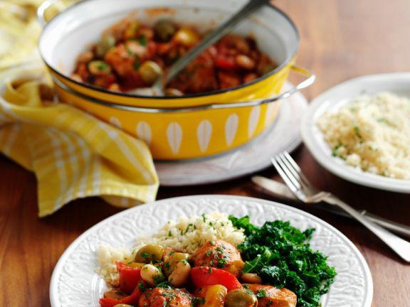 Hähnchenpfanne mit Oliven und weißen Bohnen