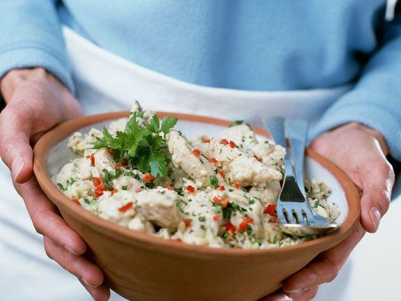 Hähnchensalat mit Reis