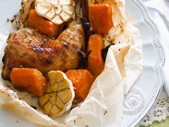 Hähnchenschenkel mit Süßkartoffeln