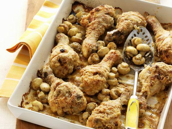 Hähnchenschlegel mit Champignons