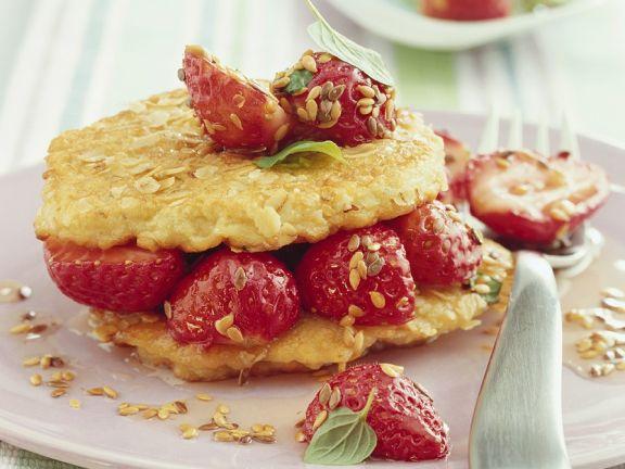 Hafer-Pfannkuchen mit Erdbeeren