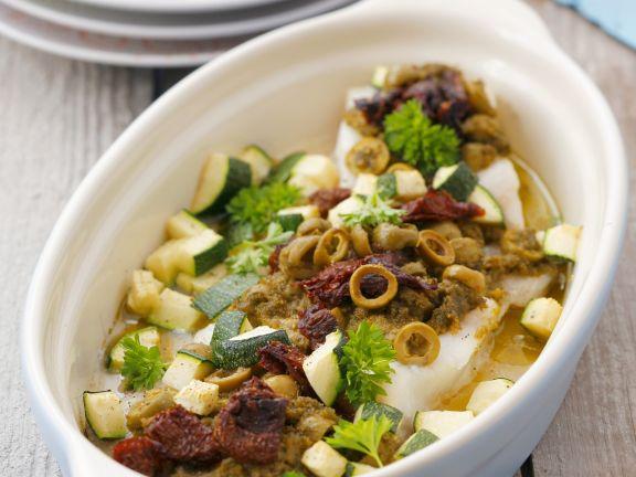 Heilbutt mit mediterranem Gemüse aus dem Ofen