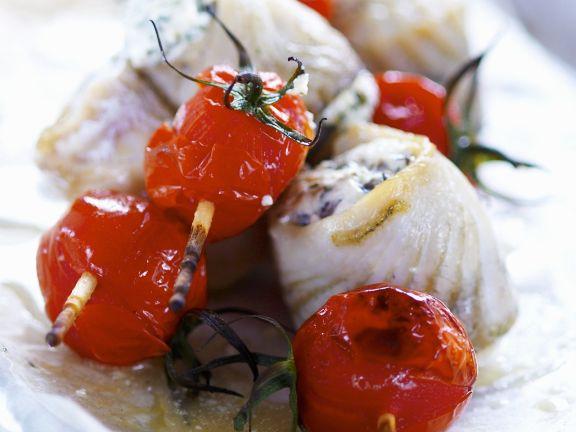 Heilbuttrouladen mit Tomaten