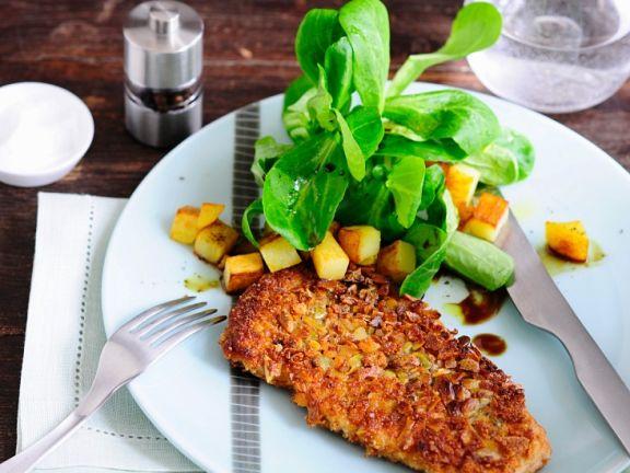 Herbstliches Schnitzel mit Kartoffel-Feldsalat