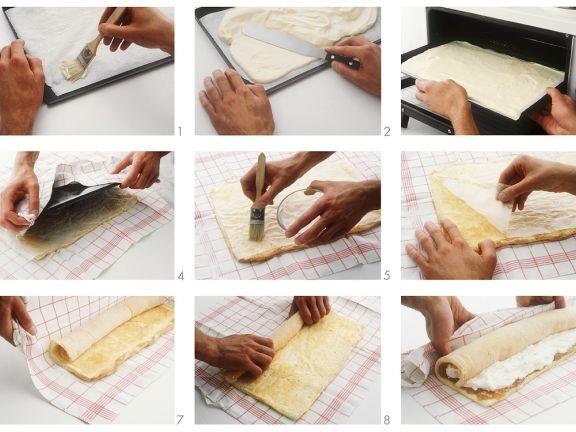 Herstellung einer Biskuitrolle