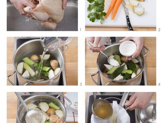 Herstellung einer Hühnerbrühe