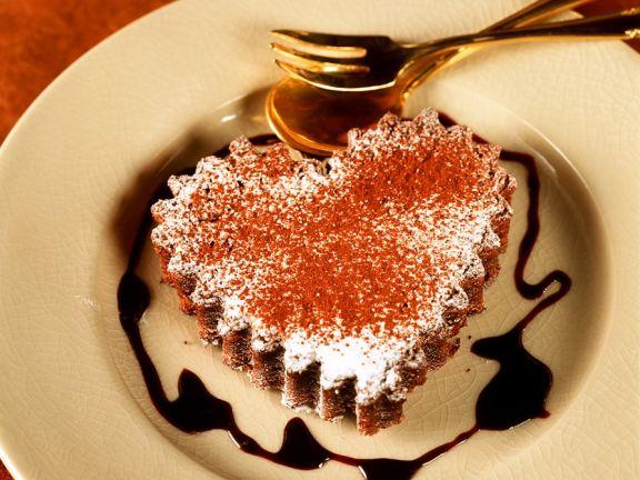 Herz-Küchlein mit Schokolade