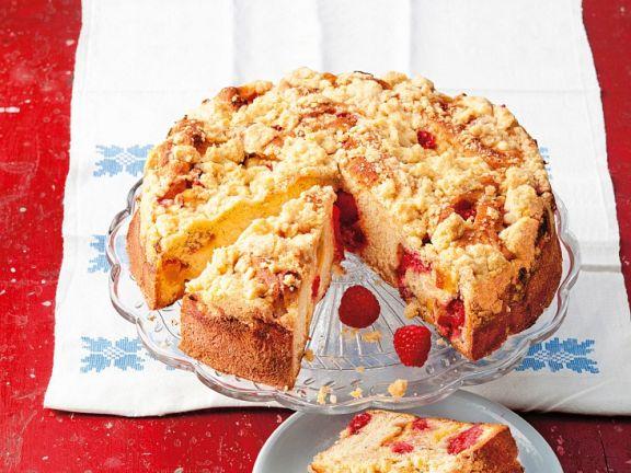 Himbeer-Streuselkuchen mit Pfirsich