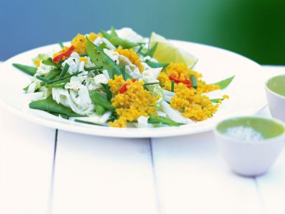 Hirsesalat mit Chinakohl und Zuckerschoten