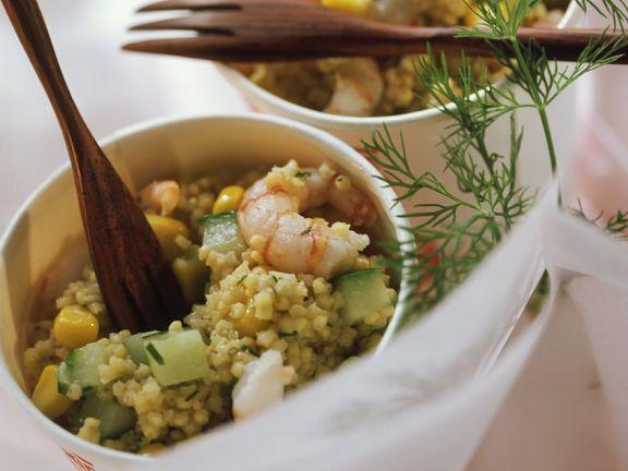 Hirsesalat mit Garnelen