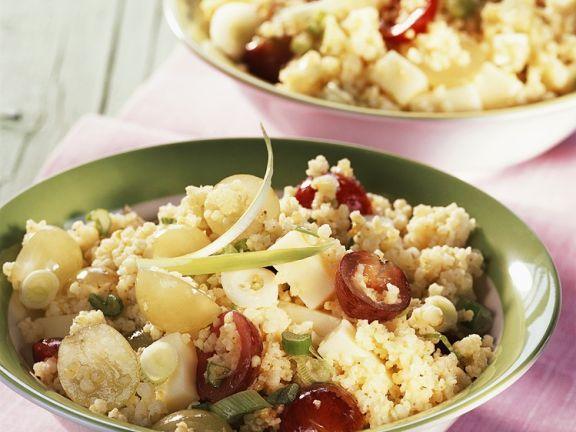 Hirsesalat mit Gruyère und Trauben