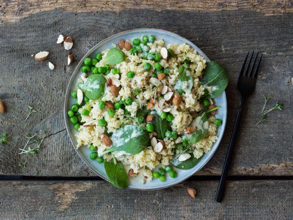Hirsesalat mit Spinat und Erbsen