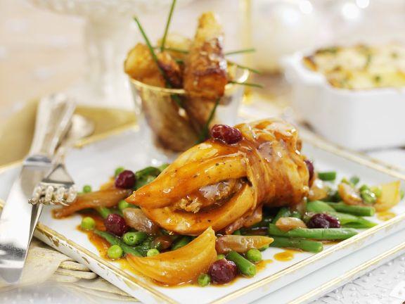 Hühnchen mit Speck umwickelt und Portweinsoße