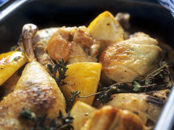 Hühnchen mit Zitrone und Thymian